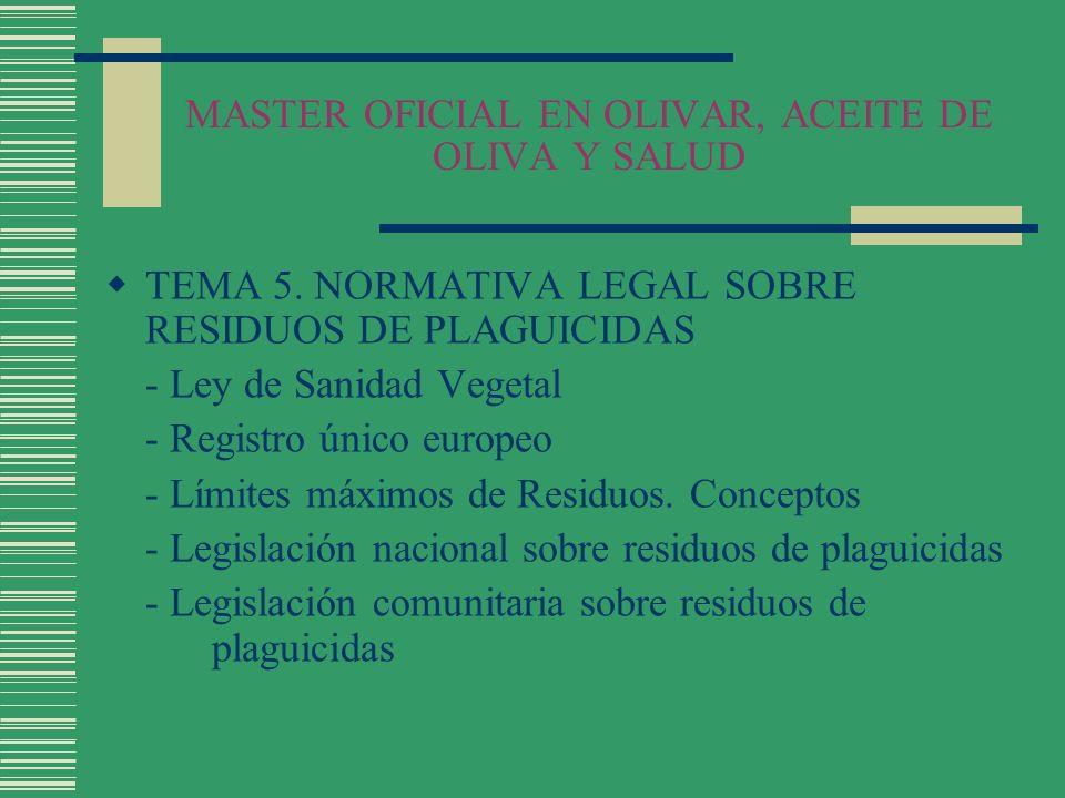 MASTER OFICIAL EN OLIVAR, ACEITE DE OLIVA Y SALUD TEMA 5. NORMATIVA LEGAL SOBRE RESIDUOS DE PLAGUICIDAS - Ley de Sanidad Vegetal - Registro único euro