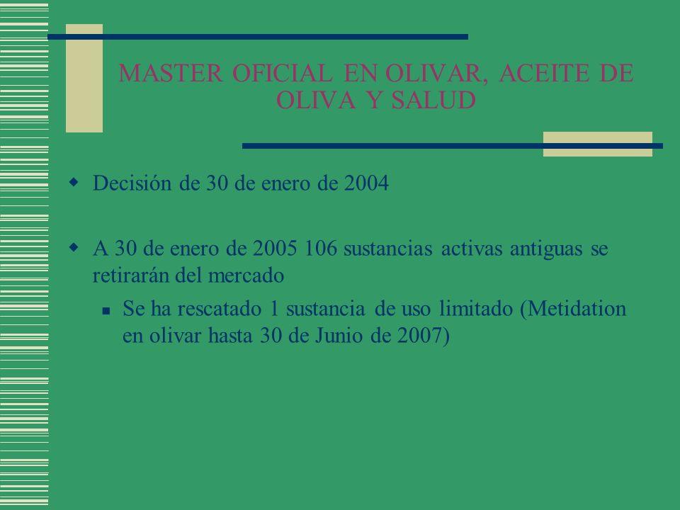 MASTER OFICIAL EN OLIVAR, ACEITE DE OLIVA Y SALUD Decisión de 30 de enero de 2004 A 30 de enero de 2005 106 sustancias activas antiguas se retirarán d