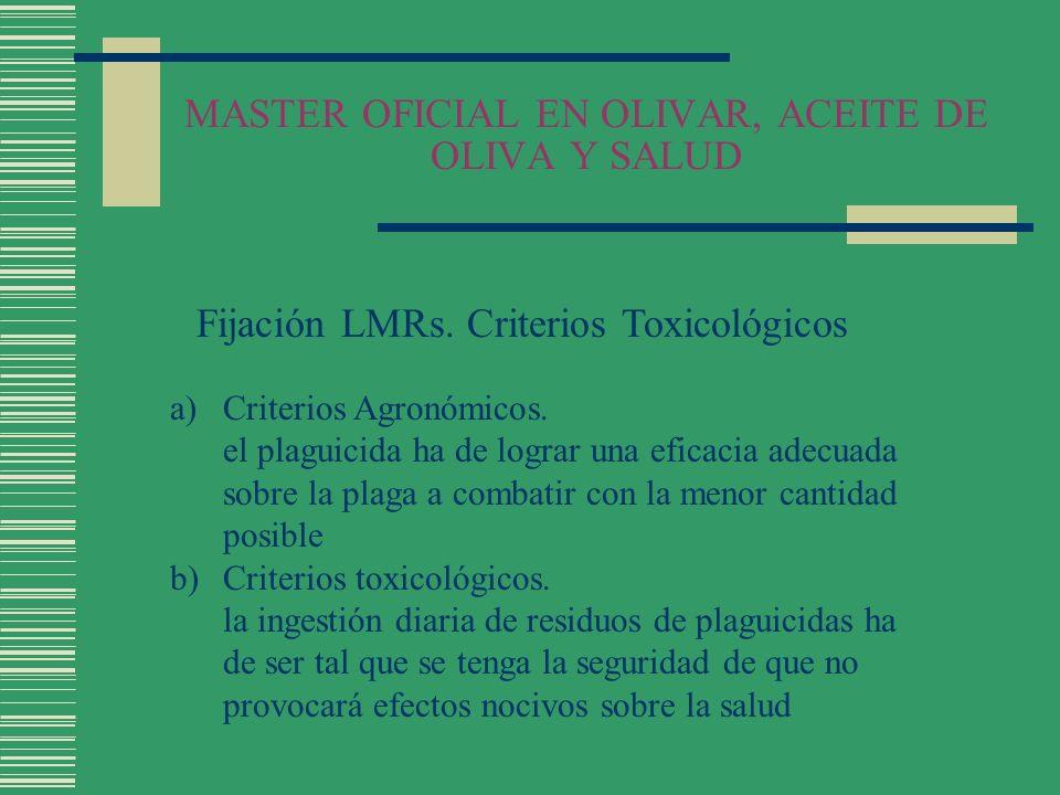 MASTER OFICIAL EN OLIVAR, ACEITE DE OLIVA Y SALUD Fijación LMRs. Criterios Toxicológicos a)Criterios Agronómicos. el plaguicida ha de lograr una efica