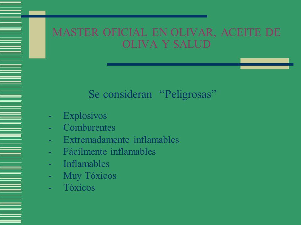 MASTER OFICIAL EN OLIVAR, ACEITE DE OLIVA Y SALUD Se consideran Peligrosas -Explosivos -Comburentes -Extremadamente inflamables -Fácilmente inflamable