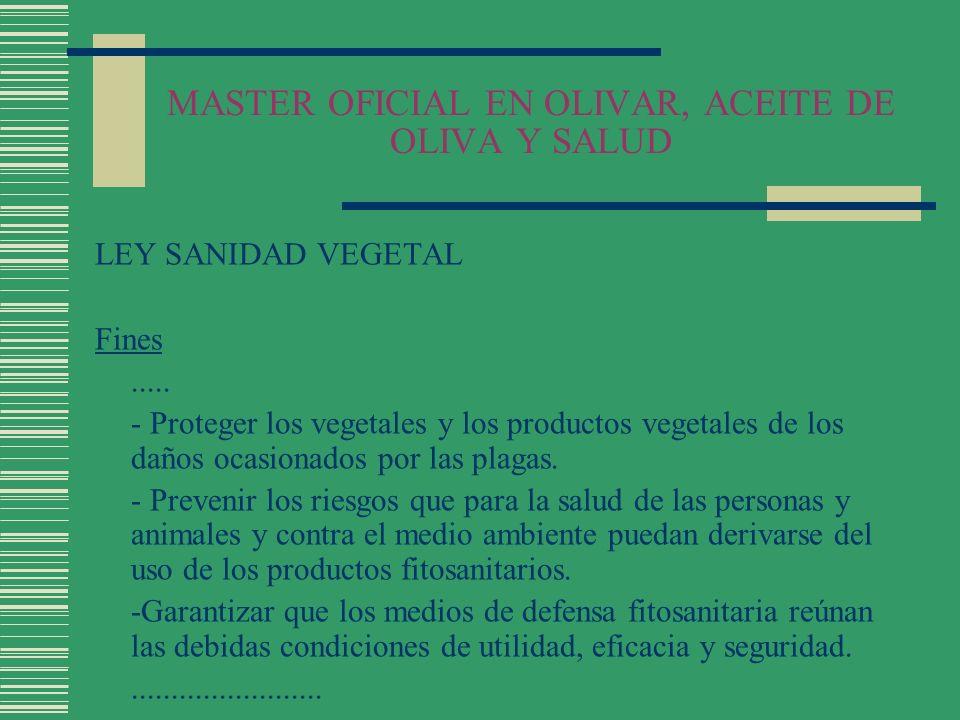 MASTER OFICIAL EN OLIVAR, ACEITE DE OLIVA Y SALUD LEY SANIDAD VEGETAL Productos Fitosanitarios Autorización y registro de productos fitosanitarios (Art.