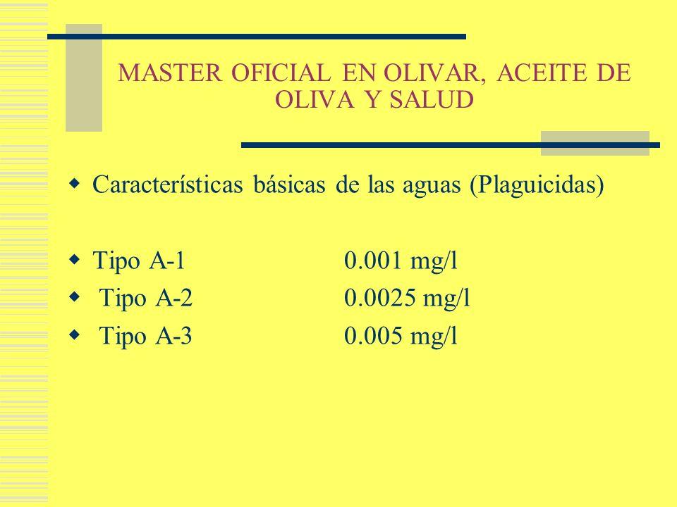 MASTER OFICIAL EN OLIVAR, ACEITE DE OLIVA Y SALUD Características básicas de las aguas (Plaguicidas) Tipo A-1 0.001 mg/l Tipo A-2 0.0025 mg/l Tipo A-3