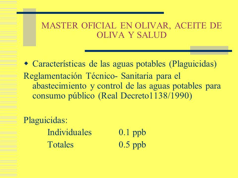 MASTER OFICIAL EN OLIVAR, ACEITE DE OLIVA Y SALUD Características de las aguas potables (Plaguicidas) Reglamentación Técnico- Sanitaria para el abaste