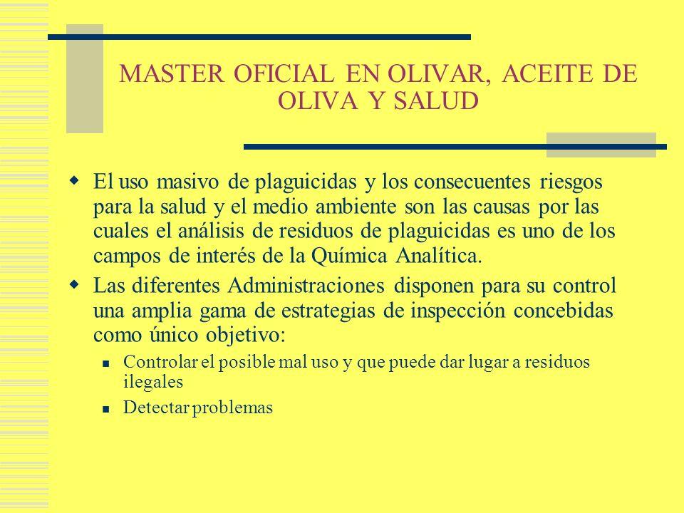 MASTER OFICIAL EN OLIVAR, ACEITE DE OLIVA Y SALUD El uso masivo de plaguicidas y los consecuentes riesgos para la salud y el medio ambiente son las ca