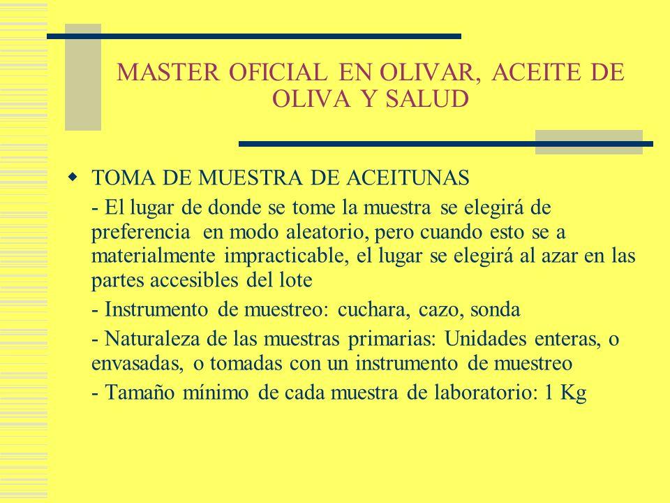 MASTER OFICIAL EN OLIVAR, ACEITE DE OLIVA Y SALUD TOMA DE MUESTRA DE ACEITUNAS - El lugar de donde se tome la muestra se elegirá de preferencia en mod