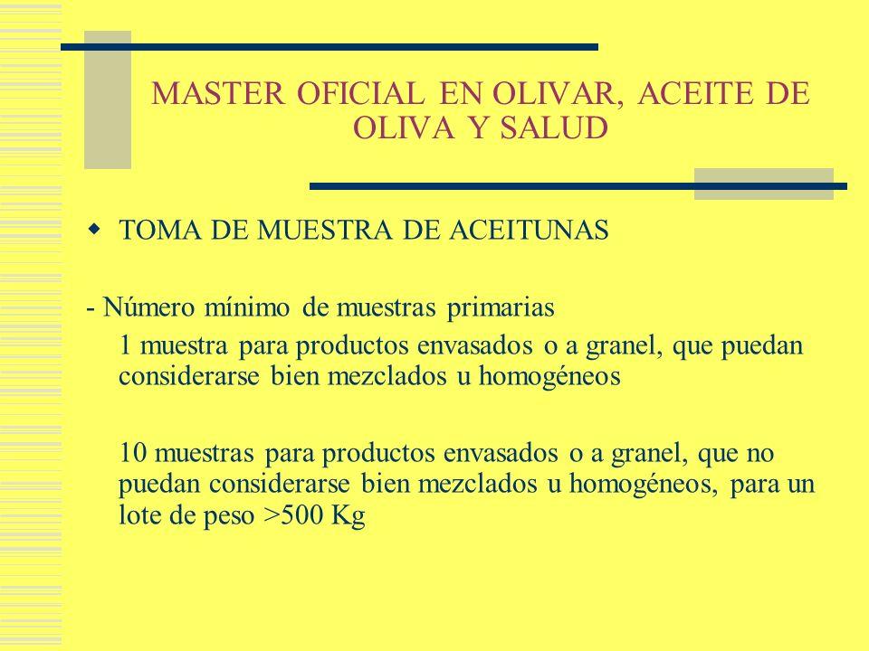 MASTER OFICIAL EN OLIVAR, ACEITE DE OLIVA Y SALUD TOMA DE MUESTRA DE ACEITUNAS - Número mínimo de muestras primarias 1 muestra para productos envasado