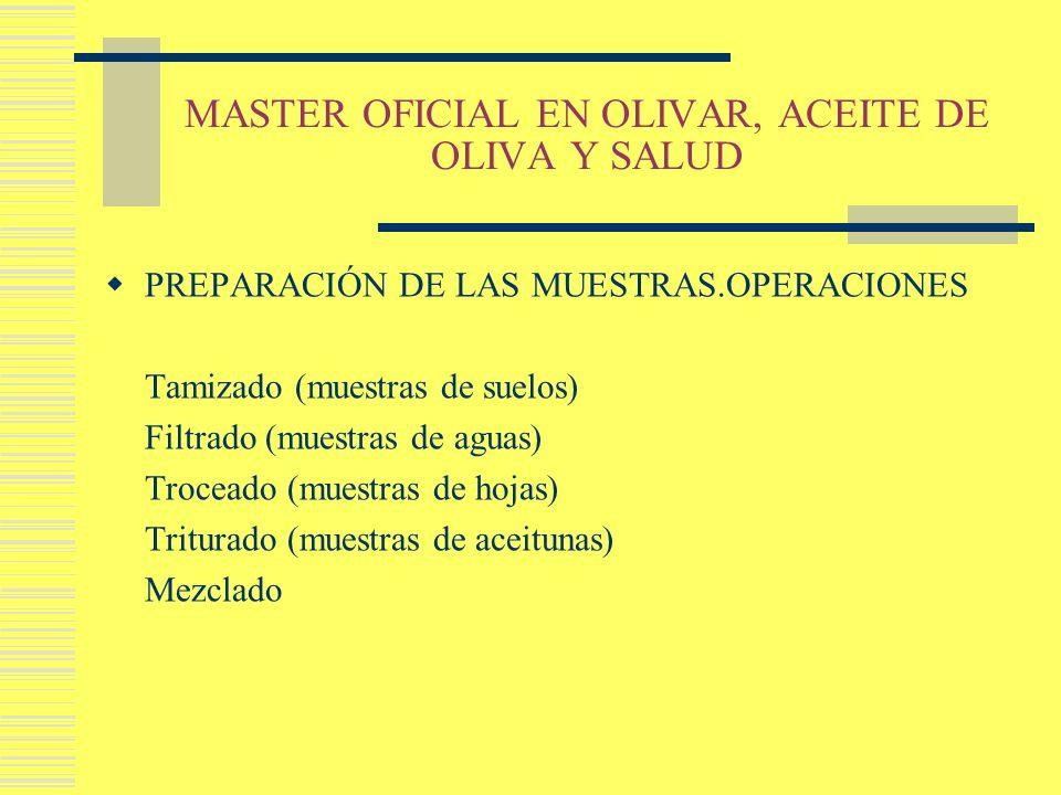 MASTER OFICIAL EN OLIVAR, ACEITE DE OLIVA Y SALUD PREPARACIÓN DE LAS MUESTRAS.OPERACIONES Tamizado (muestras de suelos) Filtrado (muestras de aguas) T