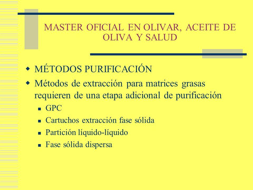 MASTER OFICIAL EN OLIVAR, ACEITE DE OLIVA Y SALUD MÉTODOS PURIFICACIÓN Métodos de extracción para matrices grasas requieren de una etapa adicional de
