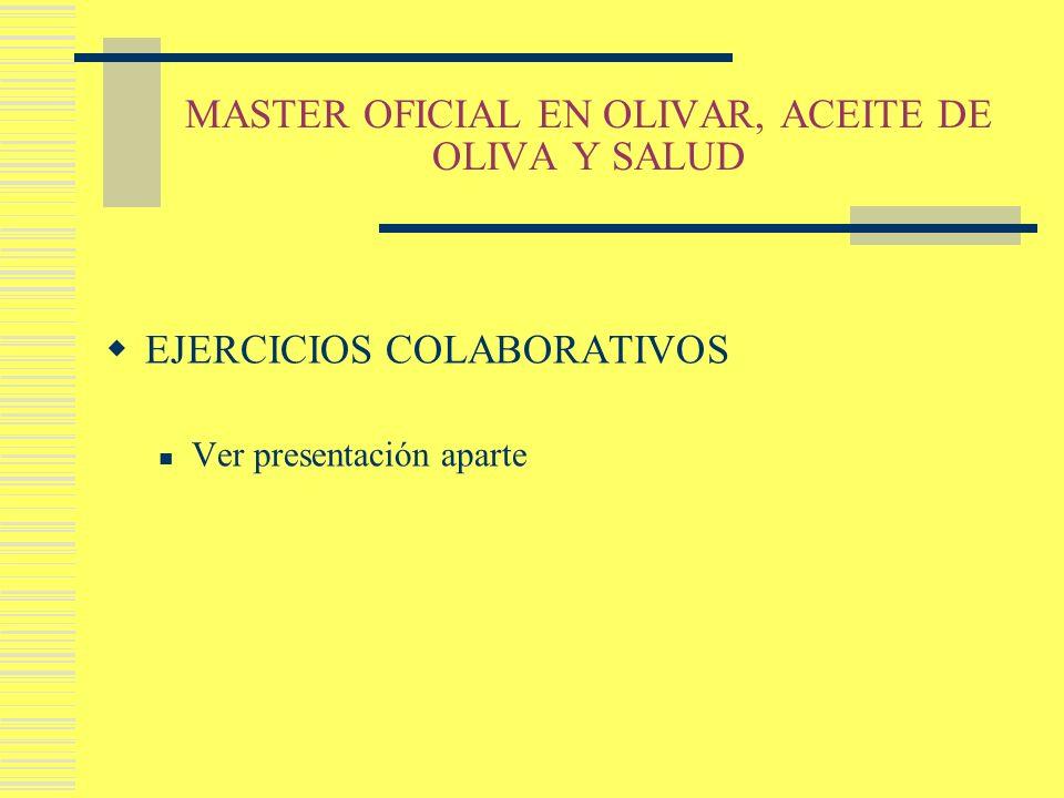 MASTER OFICIAL EN OLIVAR, ACEITE DE OLIVA Y SALUD EJERCICIOS COLABORATIVOS Ver presentación aparte