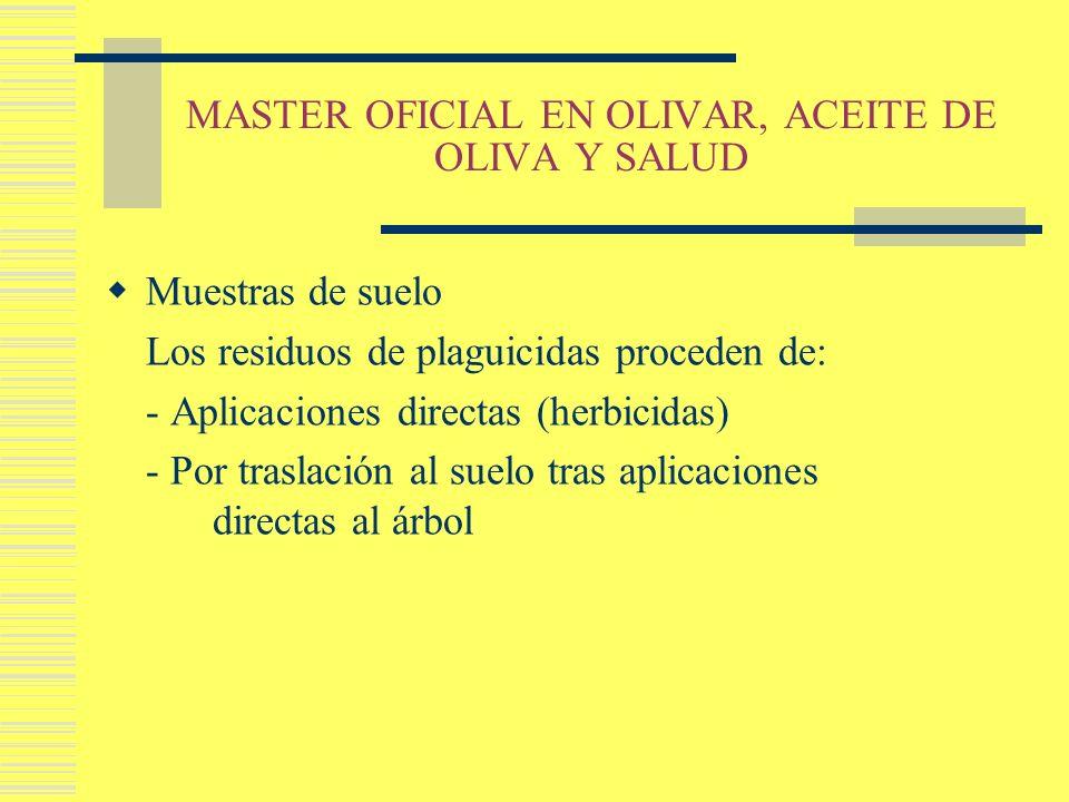 MASTER OFICIAL EN OLIVAR, ACEITE DE OLIVA Y SALUD Muestras de suelo Los residuos de plaguicidas proceden de: - Aplicaciones directas (herbicidas) - Po