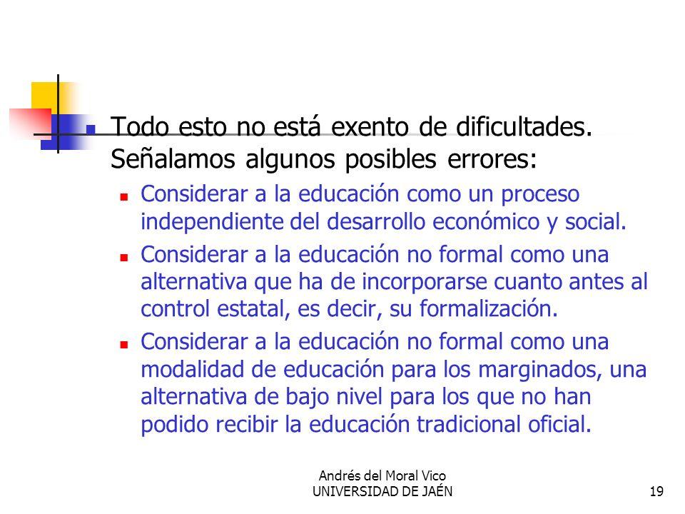 Andrés del Moral Vico UNIVERSIDAD DE JAÉN19 Todo esto no está exento de dificultades. Señalamos algunos posibles errores: Considerar a la educación co