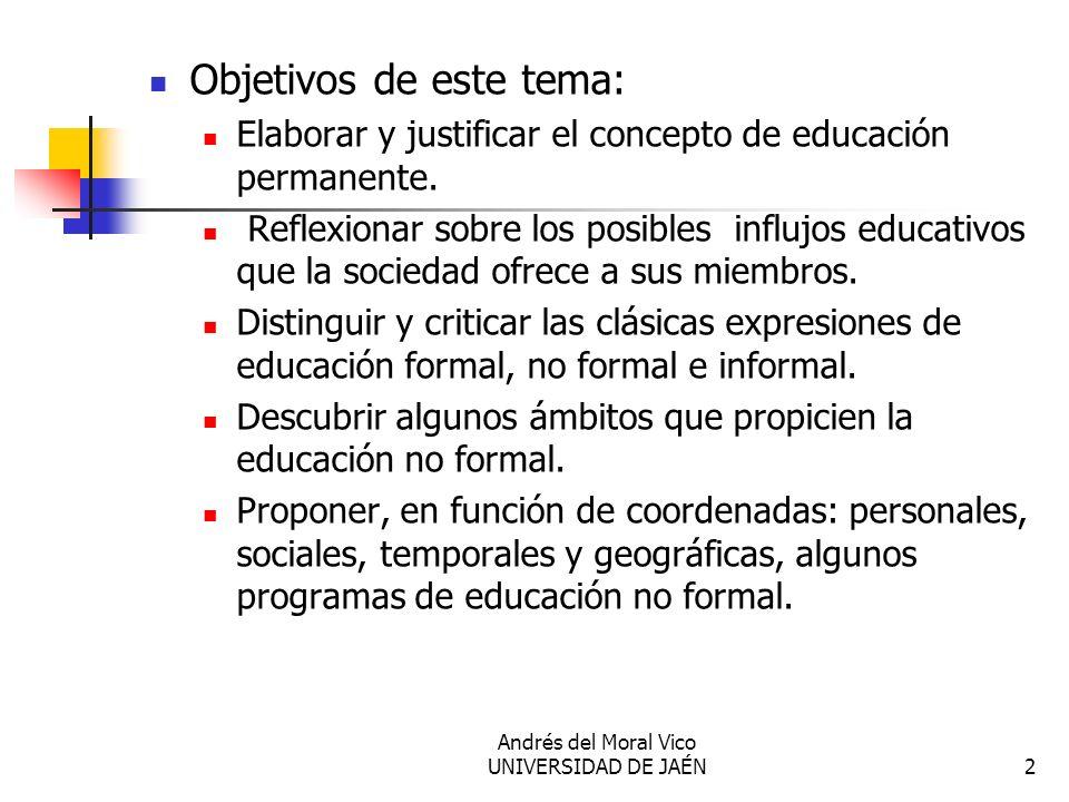 Andrés del Moral Vico UNIVERSIDAD DE JAÉN2 Objetivos de este tema: Elaborar y justificar el concepto de educación permanente. Reflexionar sobre los po