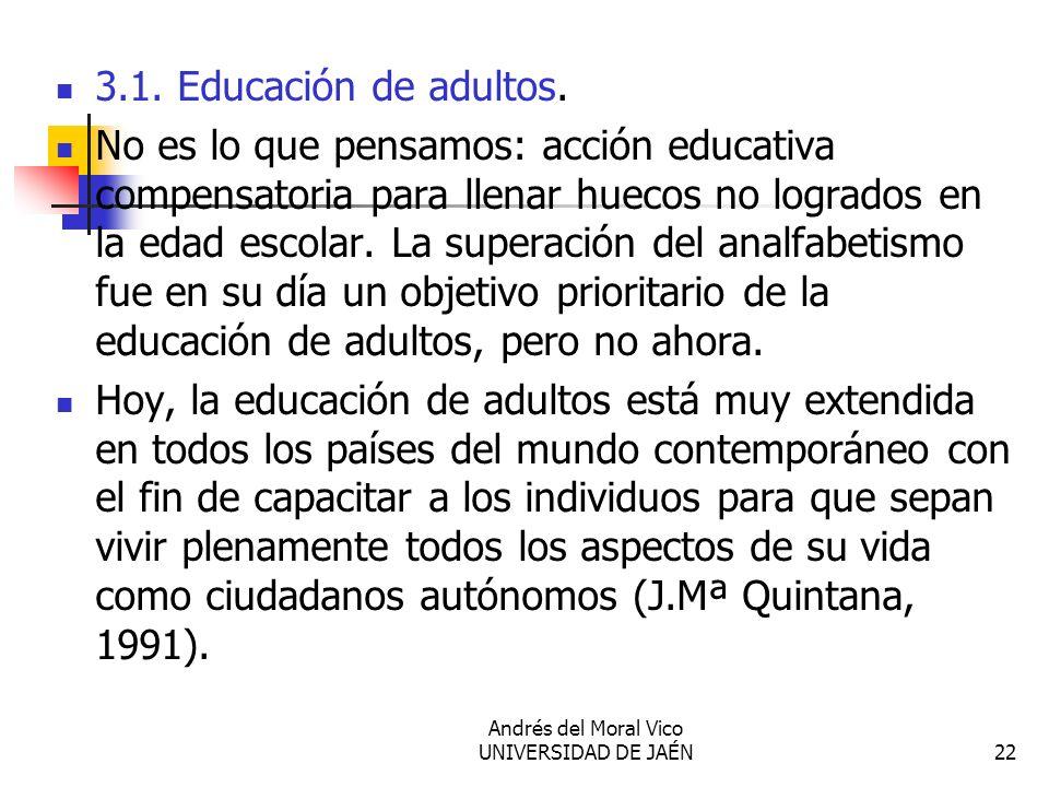 Andrés del Moral Vico UNIVERSIDAD DE JAÉN22 3.1. Educación de adultos. No es lo que pensamos: acción educativa compensatoria para llenar huecos no log