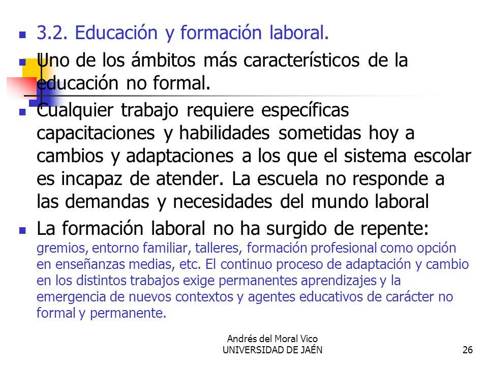 Andrés del Moral Vico UNIVERSIDAD DE JAÉN26 3.2. Educación y formación laboral. Uno de los ámbitos más característicos de la educación no formal. Cual