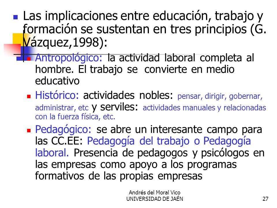 Andrés del Moral Vico UNIVERSIDAD DE JAÉN27 Las implicaciones entre educación, trabajo y formación se sustentan en tres principios (G. Vázquez,1998):