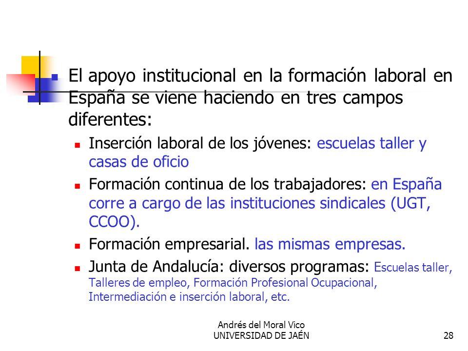 Andrés del Moral Vico UNIVERSIDAD DE JAÉN28 El apoyo institucional en la formación laboral en España se viene haciendo en tres campos diferentes: Inse