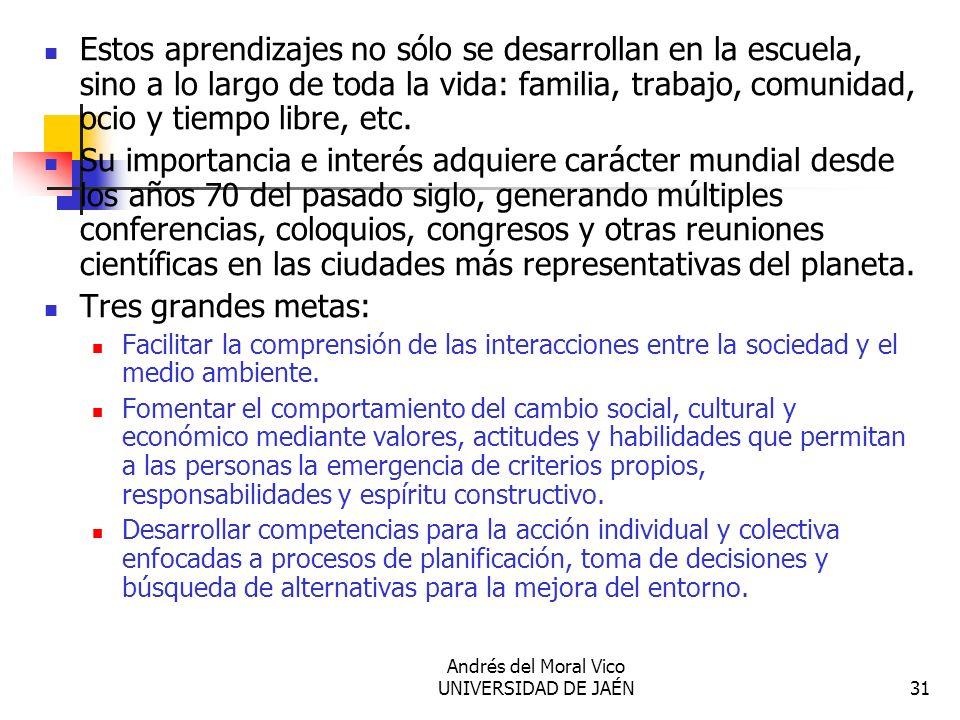 Andrés del Moral Vico UNIVERSIDAD DE JAÉN31 Estos aprendizajes no sólo se desarrollan en la escuela, sino a lo largo de toda la vida: familia, trabajo