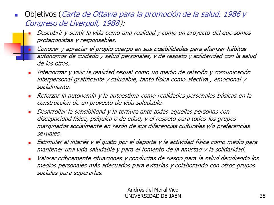 Andrés del Moral Vico UNIVERSIDAD DE JAÉN35 Objetivos (Carta de Ottawa para la promoción de la salud, 1986 y Congreso de Liverpoll, 1988): Descubrir y