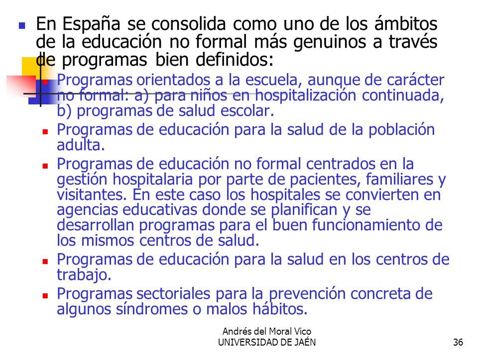 Andrés del Moral Vico UNIVERSIDAD DE JAÉN36 En España se consolida como uno de los ámbitos de la educación no formal más genuinos a través de programa