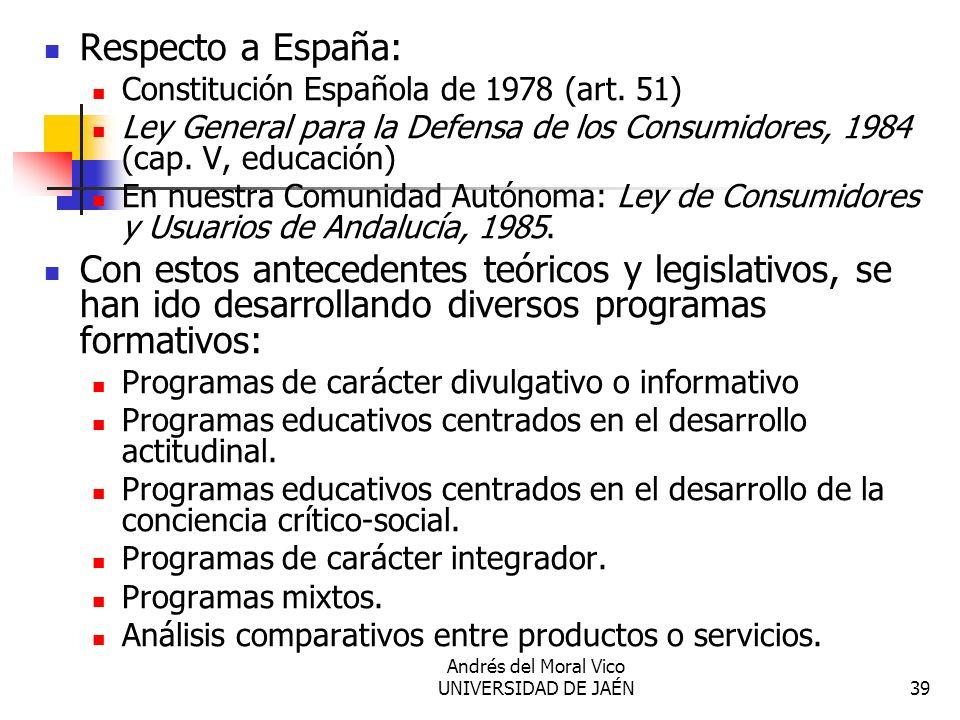 Andrés del Moral Vico UNIVERSIDAD DE JAÉN39 Respecto a España: Constitución Española de 1978 (art. 51) Ley General para la Defensa de los Consumidores