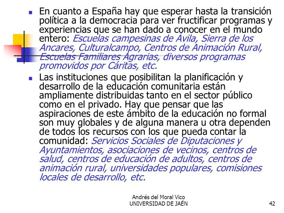 Andrés del Moral Vico UNIVERSIDAD DE JAÉN42 En cuanto a España hay que esperar hasta la transición política a la democracia para ver fructificar progr