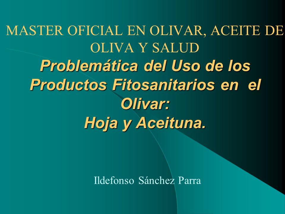 Problemática del Uso de los Productos Fitosanitarios en el Olivar: Hoja y Aceituna. MASTER OFICIAL EN OLIVAR, ACEITE DE OLIVA Y SALUD Problemática del
