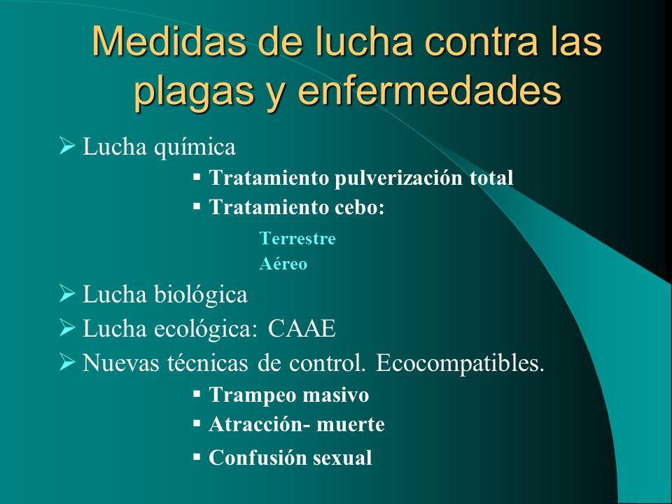 Medidas de lucha contra las plagas y enfermedades Lucha química Tratamiento pulverización total Tratamiento cebo: Terrestre Aéreo Lucha biológica Luch