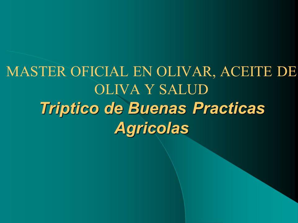 Triptico de Buenas Practicas Agricolas MASTER OFICIAL EN OLIVAR, ACEITE DE OLIVA Y SALUD Triptico de Buenas Practicas Agricolas