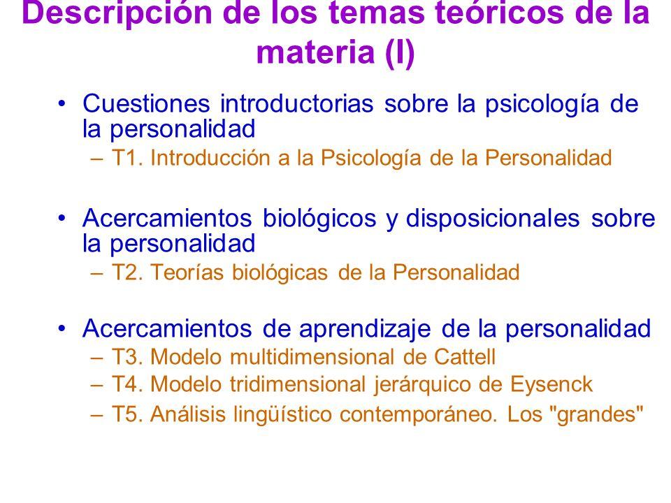 Descripción de los temas teóricos de la materia (I) Cuestiones introductorias sobre la psicología de la personalidad –T1. Introducción a la Psicología