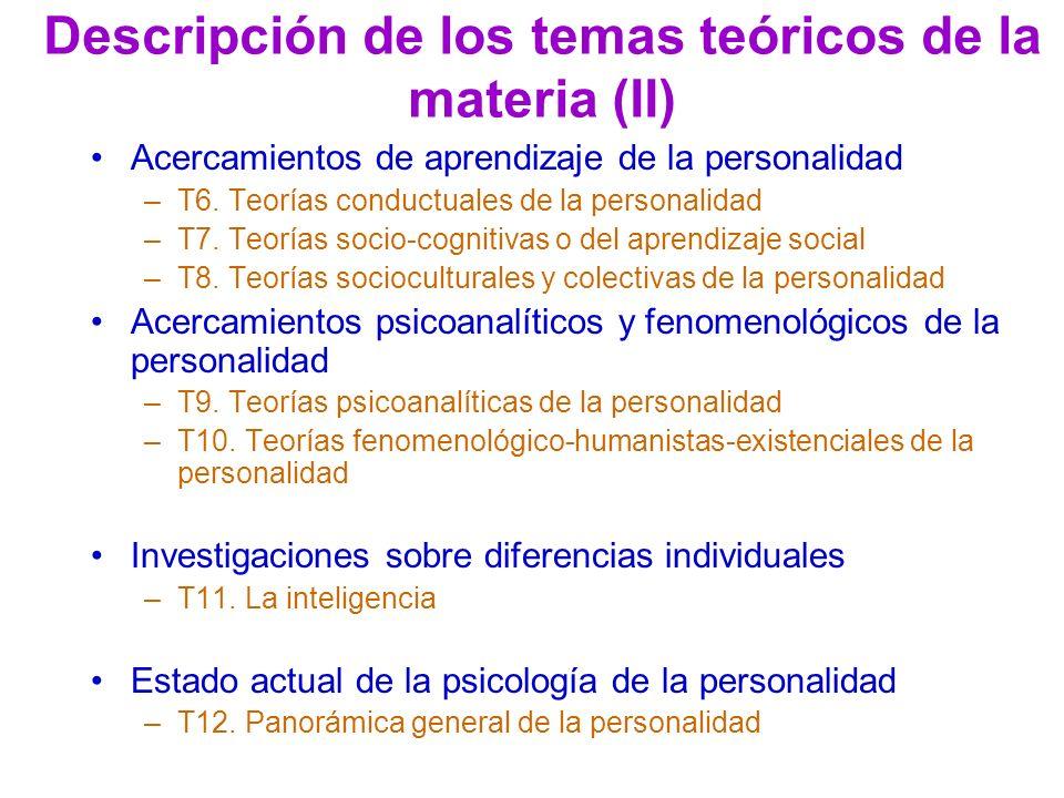 Descripción de los temas teóricos de la materia (II) Acercamientos de aprendizaje de la personalidad –T6. Teorías conductuales de la personalidad –T7.