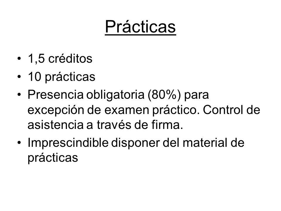 Prácticas 1,5 créditos 10 prácticas Presencia obligatoria (80%) para excepción de examen práctico. Control de asistencia a través de firma. Imprescind