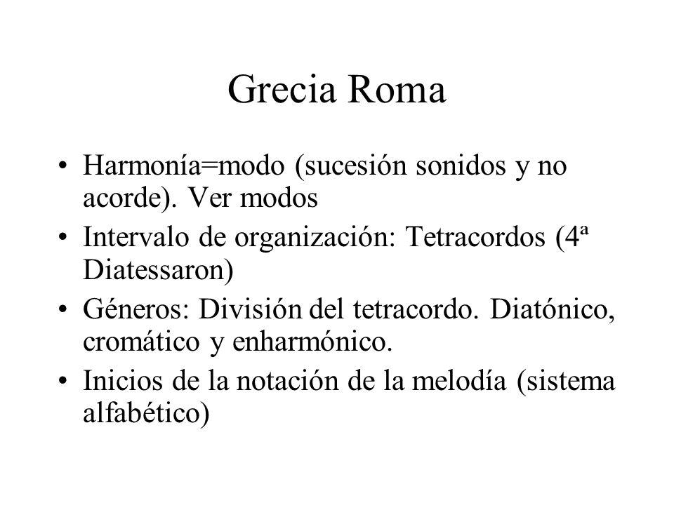 Grecia Roma Harmonía=modo (sucesión sonidos y no acorde). Ver modos Intervalo de organización: Tetracordos (4ª Diatessaron) Géneros: División del tetr