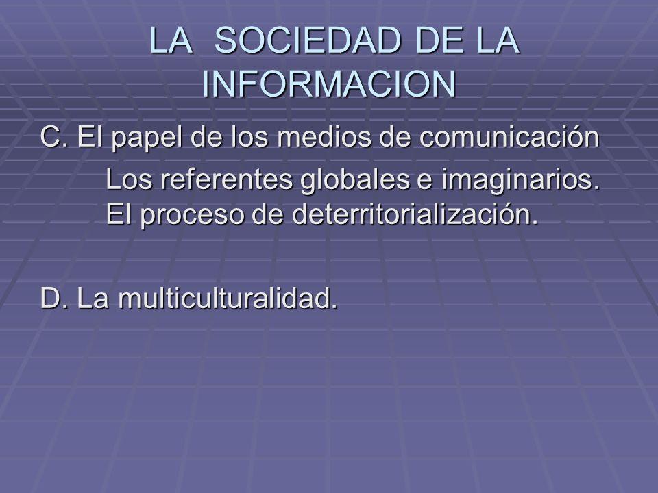 LA SOCIEDAD DE LA INFORMACION LA SOCIEDAD DE LA INFORMACION C. El papel de los medios de comunicación Los referentes globales e imaginarios. El proces