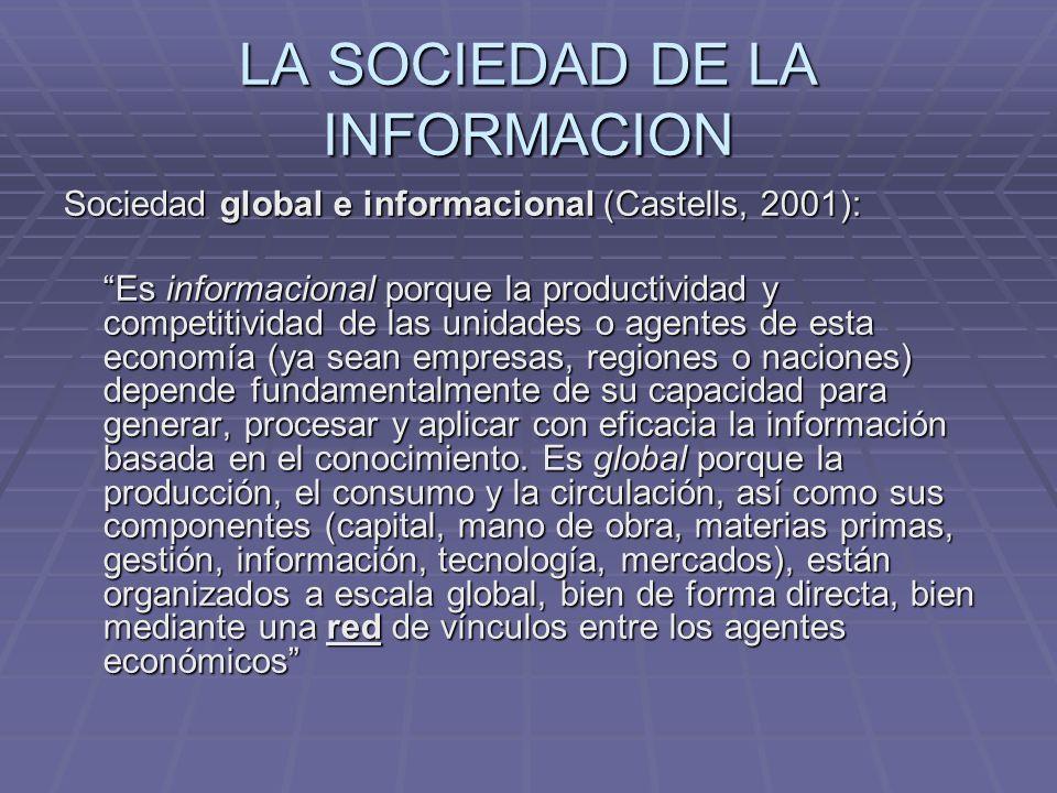 LA SOCIEDAD DE LA INFORMACION Sociedad global e informacional (Castells, 2001): Es informacional porque la productividad y competitividad de las unida