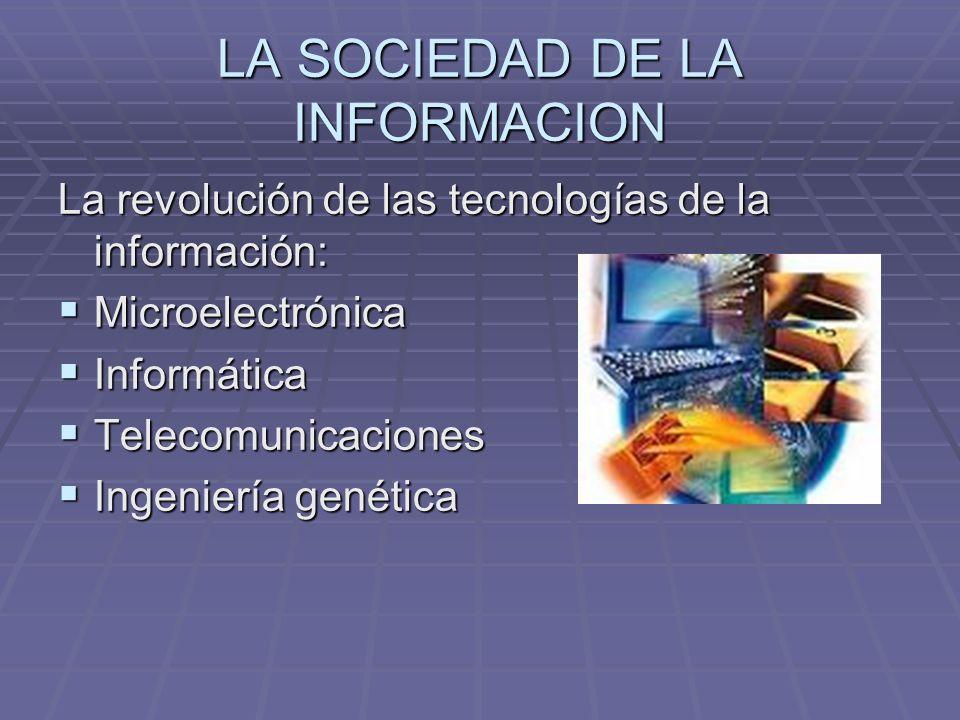 LA SOCIEDAD DE LA INFORMACION La revolución de las tecnologías de la información: Microelectrónica Microelectrónica Informática Informática Telecomuni