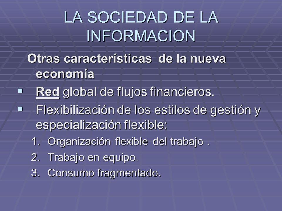 Otras características de la nueva economía Otras características de la nueva economía Red global de flujos financieros. Red global de flujos financier