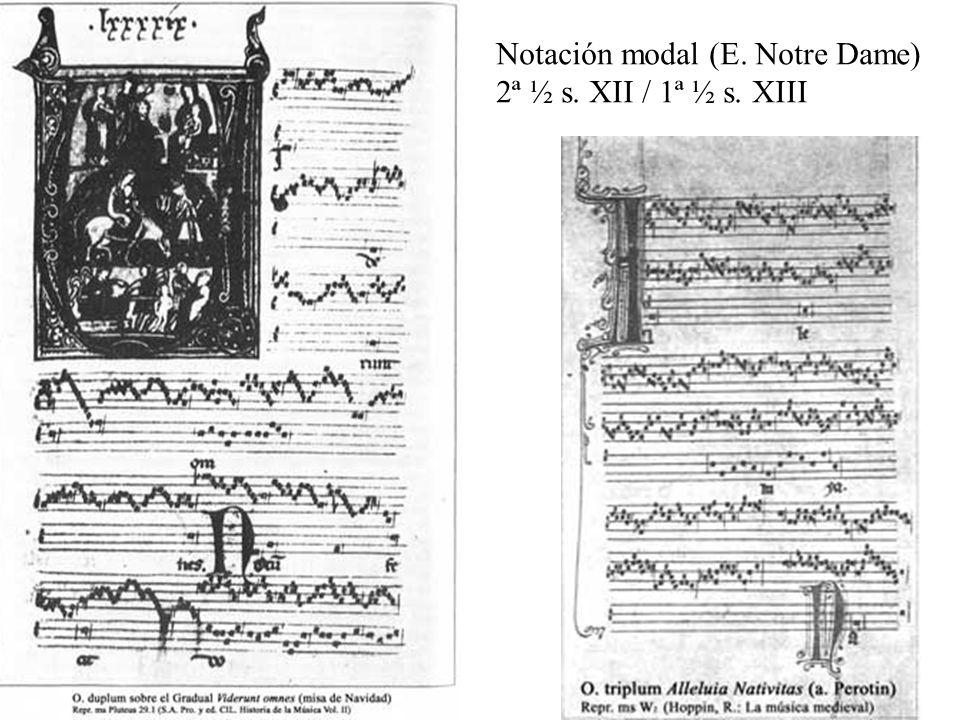 Notación modal (E. Notre Dame) 2ª ½ s. XII / 1ª ½ s. XIII