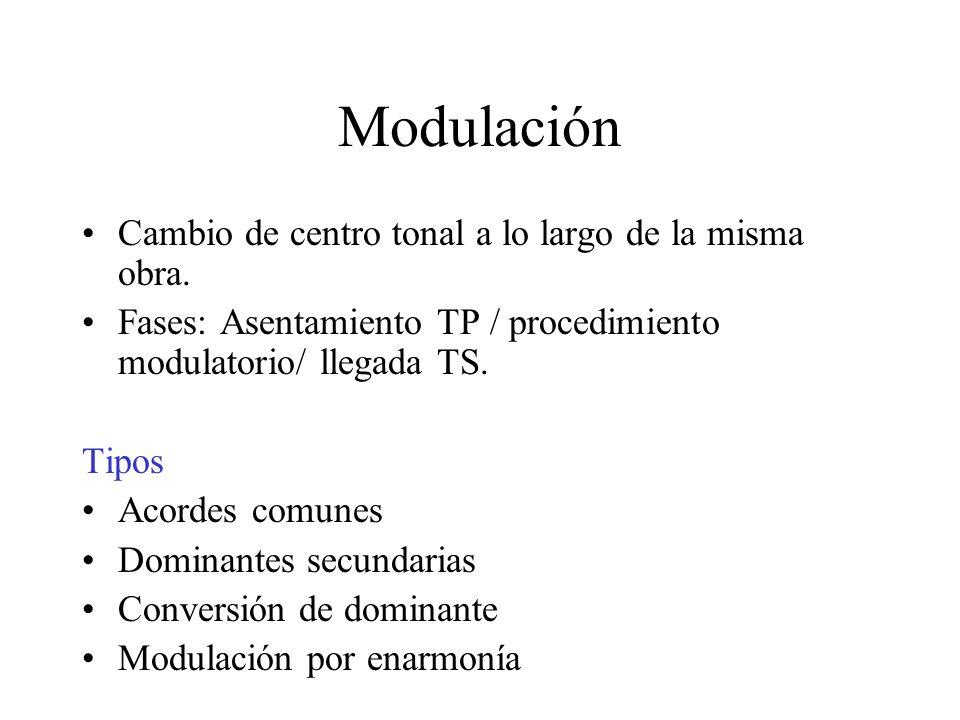 Modulación Cambio de centro tonal a lo largo de la misma obra. Fases: Asentamiento TP / procedimiento modulatorio/ llegada TS. Tipos Acordes comunes D