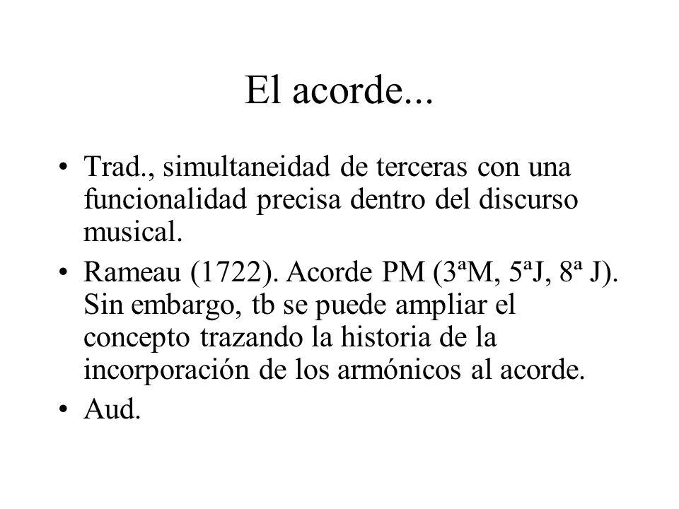 El acorde... Trad., simultaneidad de terceras con una funcionalidad precisa dentro del discurso musical. Rameau (1722). Acorde PM (3ªM, 5ªJ, 8ª J). Si