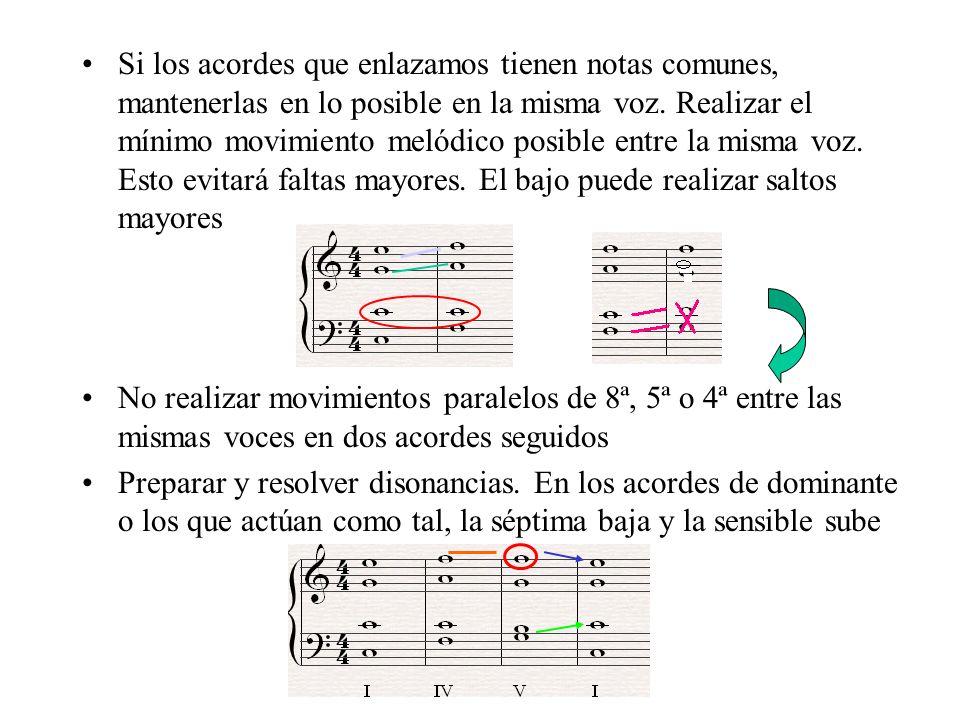 Si los acordes que enlazamos tienen notas comunes, mantenerlas en lo posible en la misma voz. Realizar el mínimo movimiento melódico posible entre la