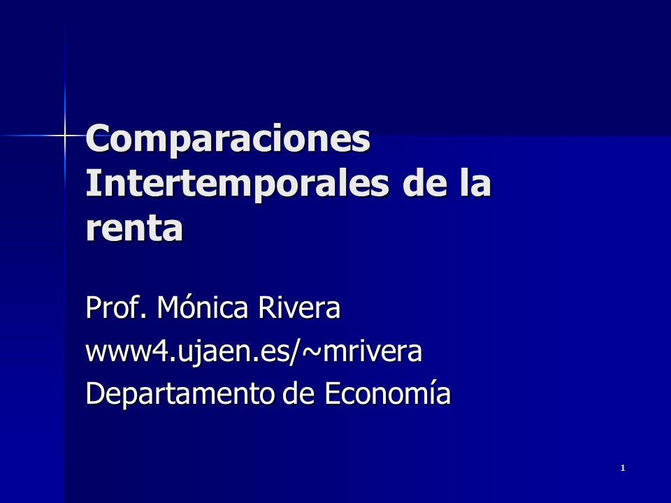 1 Comparaciones Intertemporales de la renta Prof. Mónica Rivera www4.ujaen.es/~mrivera Departamento de Economía