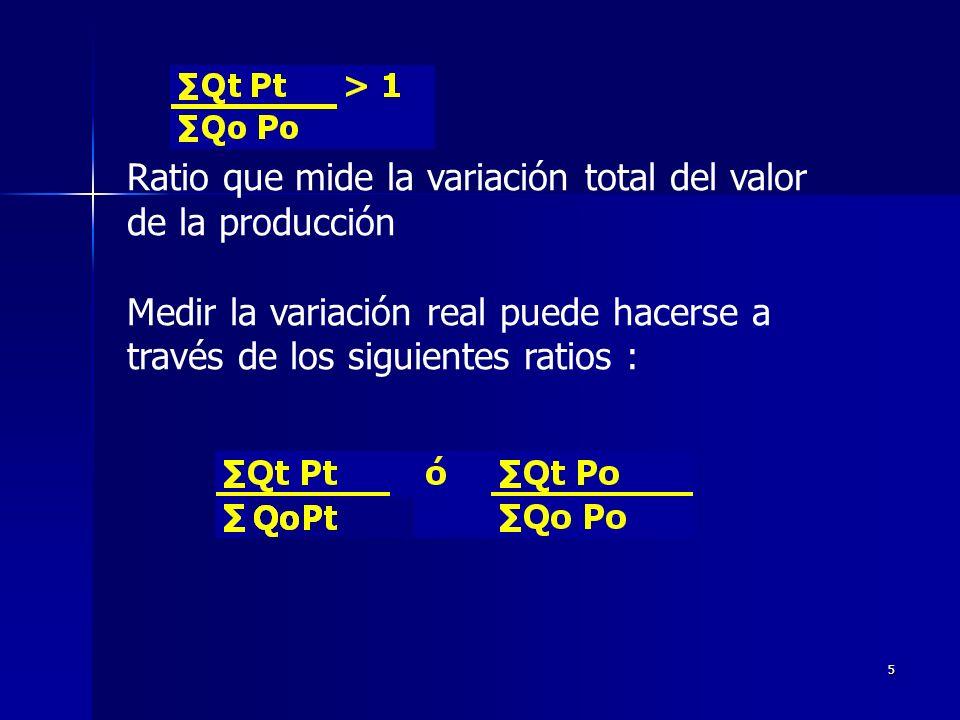 5 Ratio que mide la variación total del valor de la producción Medir la variación real puede hacerse a través de los siguientes ratios :