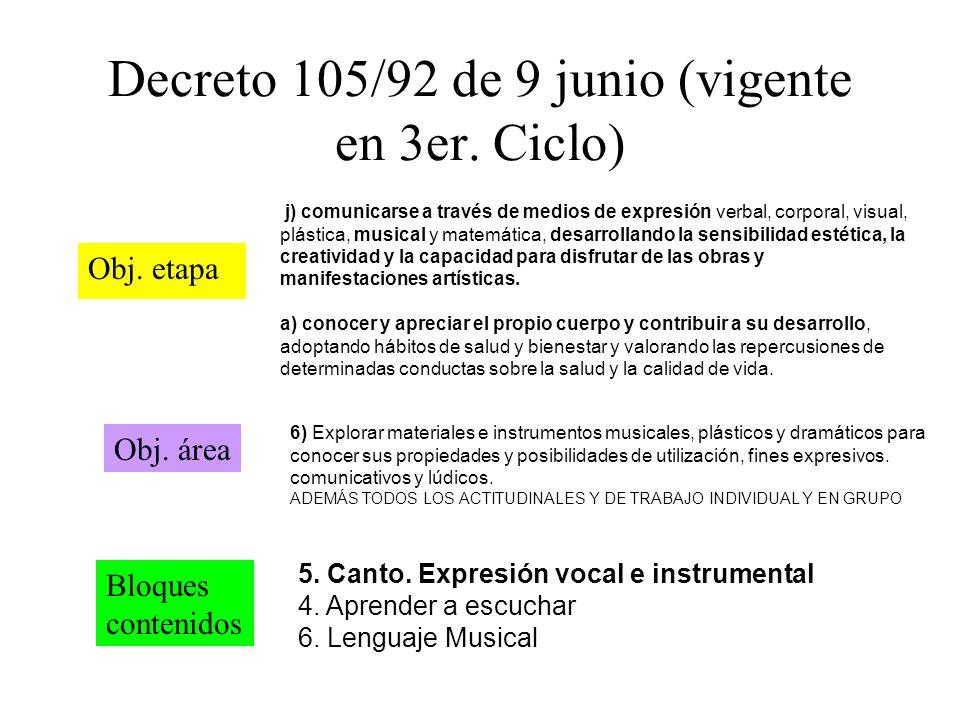 Decreto 105/92 de 9 junio (vigente en 3er. Ciclo) Obj. etapa Obj. área Bloques contenidos j) comunicarse a través de medios de expresión verbal, corpo