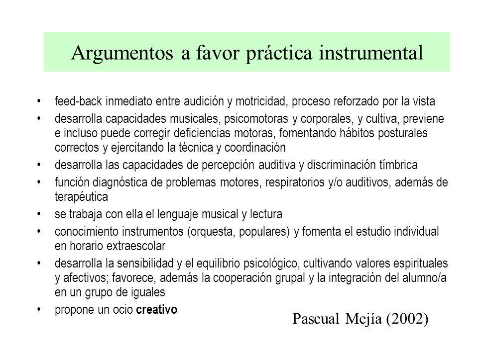 Argumentos a favor práctica instrumental feed-back inmediato entre audición y motricidad, proceso reforzado por la vista desarrolla capacidades musica
