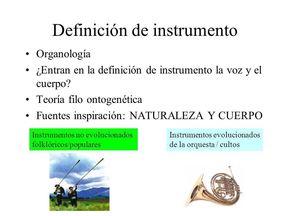 Definición de instrumento Organología ¿Entran en la definición de instrumento la voz y el cuerpo? Teoría filo ontogenética Fuentes inspiración: NATURA