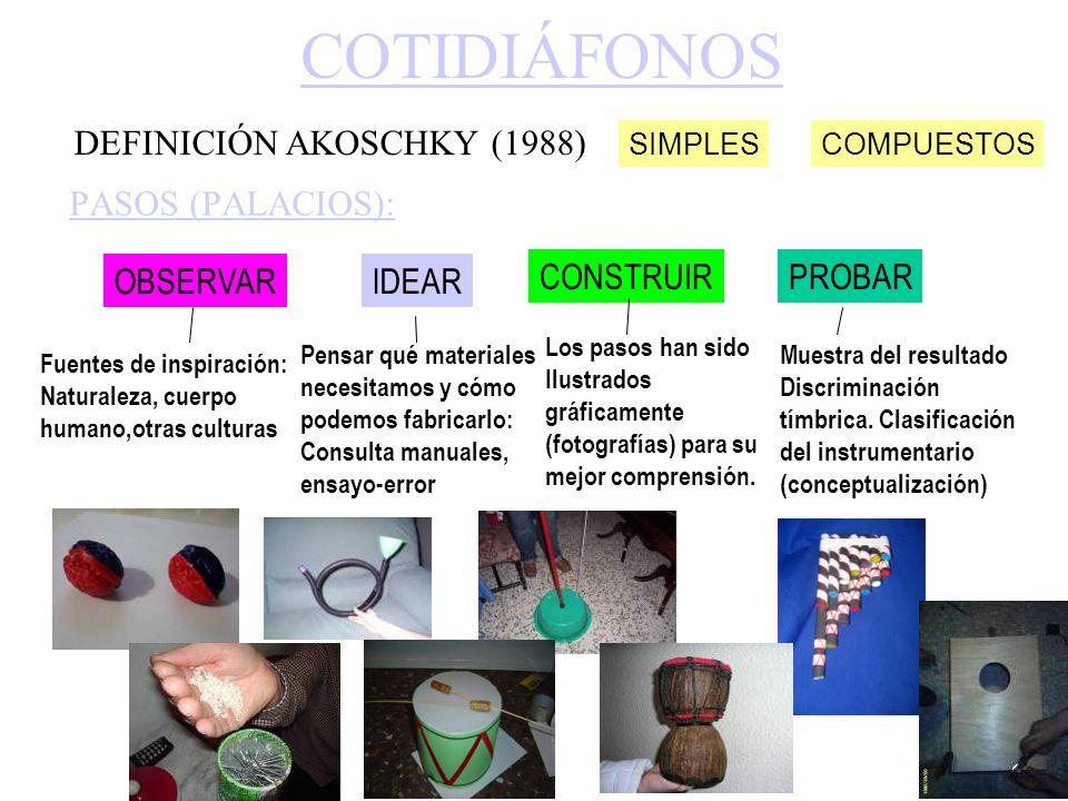 COTIDIÁFONOS PASOS (PALACIOS): OBSERVARIDEAR CONSTRUIRPROBAR Fuentes de inspiración: Naturaleza, cuerpo humano,otras culturas Pensar qué materiales ne