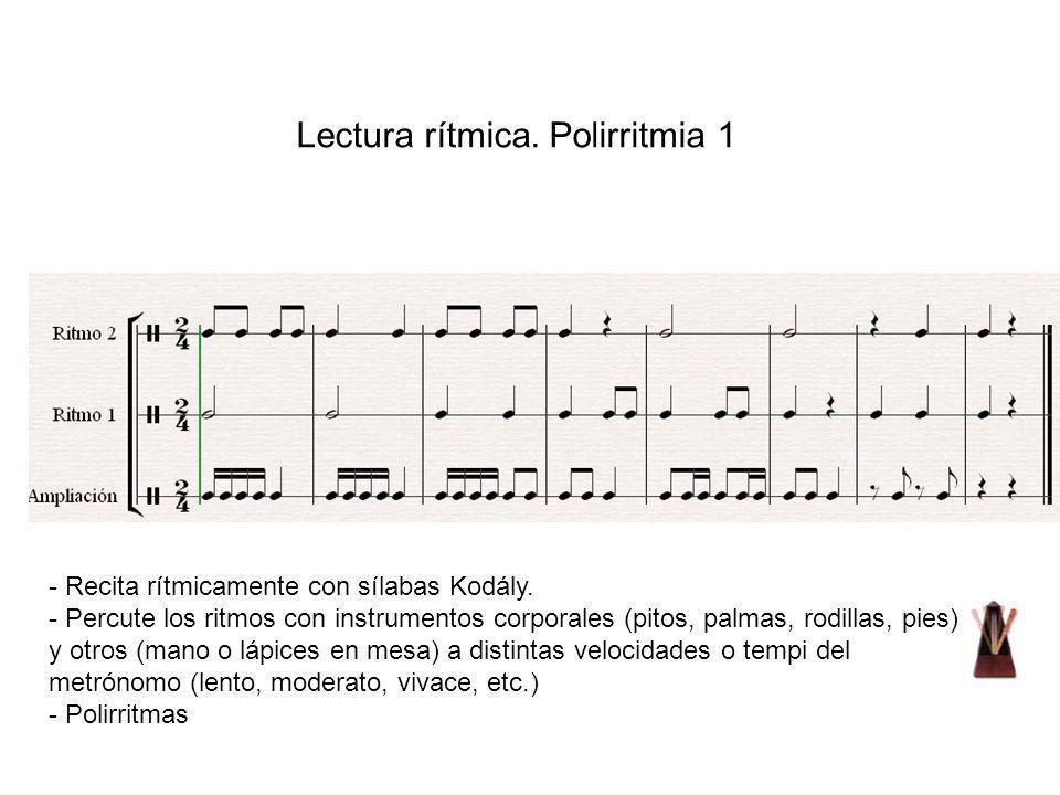 Lectura rítmica. Polirritmia 1 - Recita rítmicamente con sílabas Kodály. - Percute los ritmos con instrumentos corporales (pitos, palmas, rodillas, pi