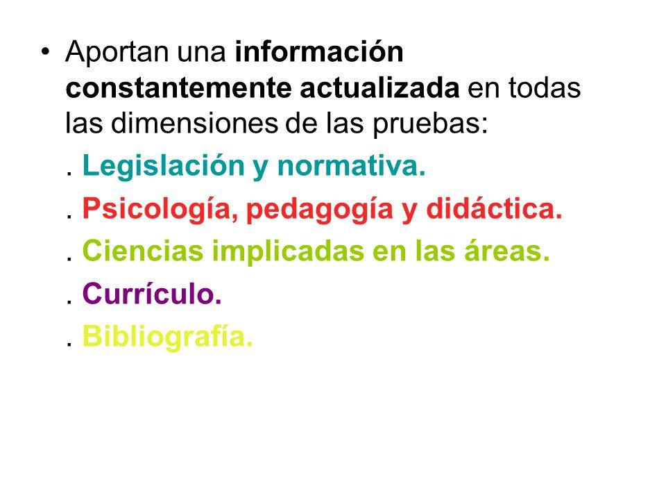 … Aportan una información constantemente actualizada en todas las dimensiones de las pruebas:.