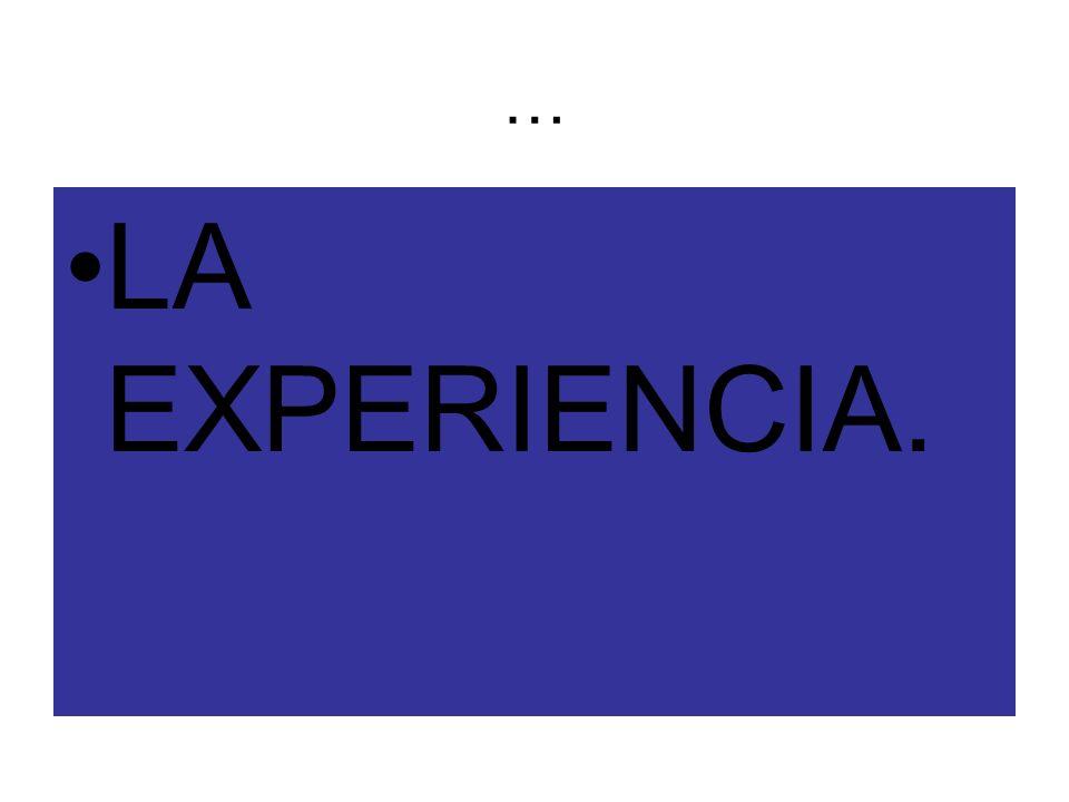 … LA EXPERIENCIA.