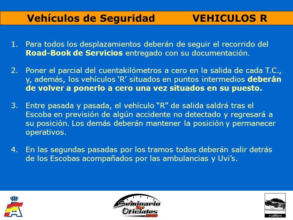 Vehículos de Seguridad VEHICULOS R 1.Para todos los desplazamientos deberán de seguir el recorrido del Road-Book de Servicios entregado con su documen